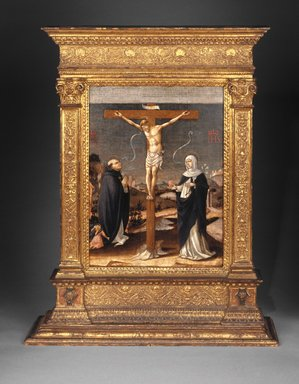 Brooklyn Museum: Christ on the Cross Adored by Saints Thomas Aquinas and Catherine of Siena (Recto); Saint Dominic with Saints and Worshipping Nuns (Verso)