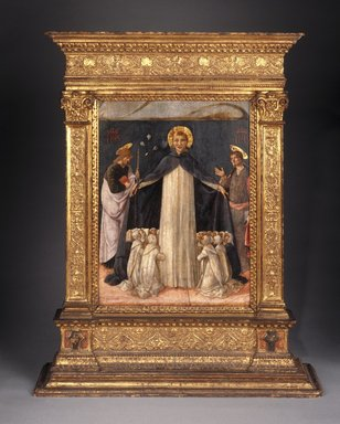 Lorenzo  d'Alessandro da San Severino (Italian, School of the Marches, documented 1462-1503). Christ on the Cross Adored by Saints Thomas Aquinas and Catherine of Siena (Recto); Saint Dominic with Saints and Worshipping Nuns (Verso), ca. 1490. Tempera on two panels, 17 1/8 x 12 3/4 in.  (43.5 x 32.4 cm). Brooklyn Museum, Gift of Mrs. Felix M. Warburg in memory of her husband, 41.894a-b
