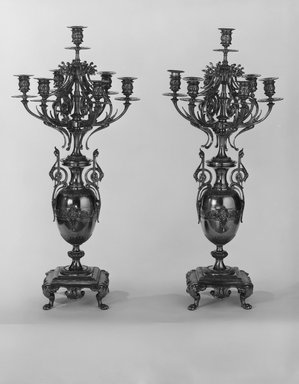 Brooklyn Museum: Candelabra, One of a Pair in a Three Piece Garniture