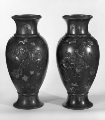 Japanese. Pair of Vases, 19th century. Bronze, 25 x 8 3/4 in. (63.5 x 22.2 cm). Brooklyn Museum, Gift of Mrs. William E. S. Griswold in memory of her father, John Sloane, 41.980.19a-b. Creative Commons-BY