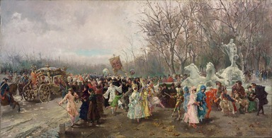 Luis Alvarez Catalá (Spanish, 1836-1901). The Carnival, 1886. Oil on linen, 20 3/4 x 40 3/8 in. (52.7 x 102.6 cm). Brooklyn Museum, Gift of Mrs. William E. S. Griswold in memory of her father, John Sloane, 41.980.61