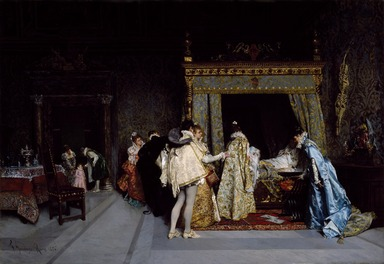 Francesco Jacovacci (Italian, 1838-1908). Birth of a Prince, 1876. Oil on canvas, 21 1/8 x 30 1/8 in.  (53.7 x 76.5 cm). Brooklyn Museum, Gift of Mr. and Mrs. William E. S. Griswold, 41.980.64