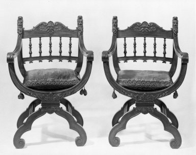 Herter Brothers (American, 1865-1905). Pair of Armchairs (x-frame)                                    (Renaissance Revival style), ca. 1881. Mahogany, modern upholstery, 36 1/2 x 25 x 19 in. (92.7 x 63.5 x 48.3 cm). Brooklyn Museum, Gift of Mrs. William E. S. Griswold in memory of her father, John Sloane, 41.980.7a-b. Creative Commons-BY