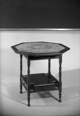Herter Brothers (American, 1865-1905). Center Table, ca. 1881. Mahogany, inlay of various woods, brass, textile, 26 1/2 x 28 1/2 in. (67.3 x 72.4 cm). Brooklyn Museum, Gift of Mrs. William E. S. Griswold in memory of her father, John Sloane, 41.980.8. Creative Commons-BY