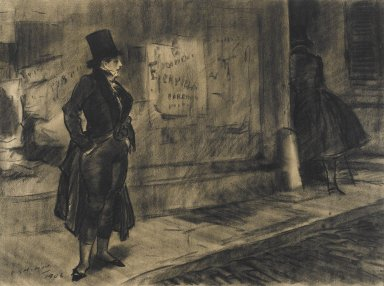 Everett Shinn (American, 1876-1953). Frédérique Follows Her Husband, Illustration for Frédérique, 1906. Black crayon (probably Conté) on beige, medium-weight, slightly textured wove paper., Sheet: 15 5/8 x 21 in. (39.7 x 53.3 cm). Brooklyn Museum, Dick S. Ramsay Fund, 42.101
