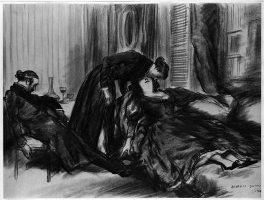 Everett Shinn (American, 1876-1953). I Leanded Over Her and Plucked from Her Lips a Kiss, 1906. Conté crayon on paper, Sheet: 15 1/4 x 20 1/16 in. (38.7 x 51 cm). Brooklyn Museum, Dick S. Ramsay Fund, 42.102