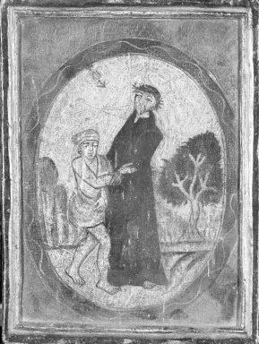 (St. Francis Helping Beggar). Oil on panel, 6 x 5 in. (15.2 x 12.7 cm). Brooklyn Museum, Carll H. de Silver Fund, 42.13