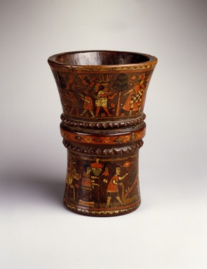 Quechua. Kero Cup, late 17th-18th century. Wood with pigment inlay, 7 7/8 x 6 1/8 x 6 1/8 in. (20 x 15.6 x 15.6 cm). Brooklyn Museum, A. Augustus Healy Fund, 42.149. Creative Commons-BY