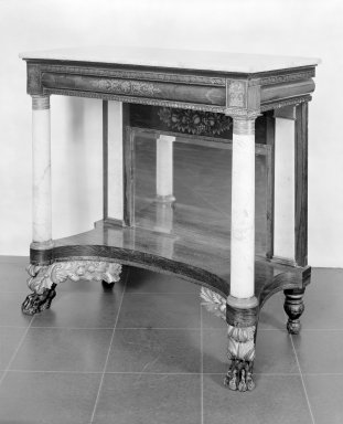 American. Pier Table, about 1835. Rosewood with stenciled decoration, 38 1/2 x 40 x 18 3/4 in. (97.8 x 101.6 x 47.6 cm). Brooklyn Museum, Dick S. Ramsay Fund, 42.182. Creative Commons-BY