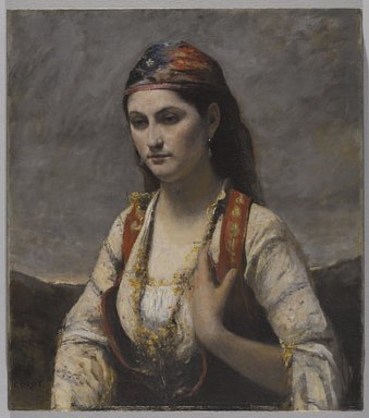 Jean-Baptiste-Camille Corot (French, 1796-1875). The Young Woman of Albano (L'Albanaise), 1872. Oil on canvas, 29 3/16 x 25 13/16 in. (74.1 x 65.6 cm). Brooklyn Museum, Gift of Mrs. Horace O. Havemeyer, 42.196