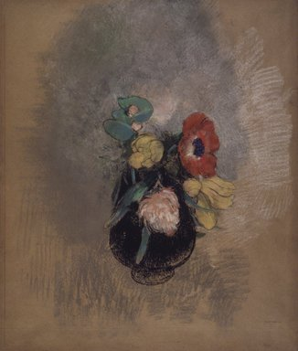 Odilon Redon (French, 1840-1916). Anemones and Tulips (Anémones et Tulipes), 1902-1903. Pastel on tan paper, Sheet: 21 9/16 x 18 1/4 in. (54.8 x 46.4 cm). Brooklyn Museum, Gift of Mrs. Horace O. Havemeyer, 42.198