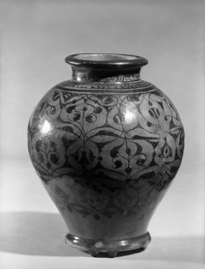 Inverted Pear-Shaped Jar, ca. 1200–1230. Ceramic; fritware, painted in black under a transparent cobalt blue glaze, 8 1/4 x 6 5/8 in. (21 x 16.8 cm). Brooklyn Museum, Gift of Mrs. Horace O. Havemeyer, 42.212.11. Creative Commons-BY