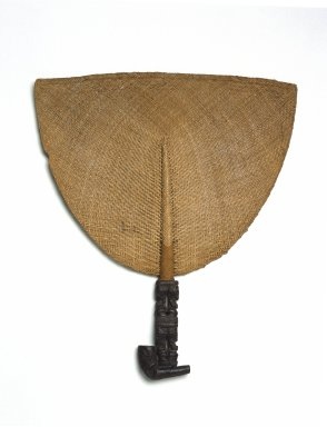 Marquesan. Fan (Tahi'i), 19th century. Plant fiber, wood, 13 1/4 x 11 3/8 x 3/4 in. (33.7 x 28.9 x 1.9 cm). Brooklyn Museum, By exchange, 42.243.2. Creative Commons-BY