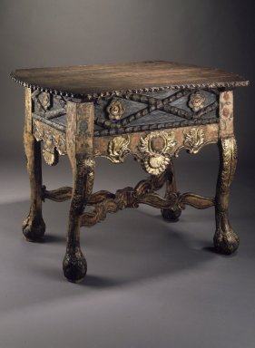 Table. Wood; carved, pigment, gilding, 33 1/8 x 43 3/8 x 27 3/8 in. Brooklyn Museum, Gift of Percy C. Madeira, Jr., 42.244.16. Creative Commons-BY