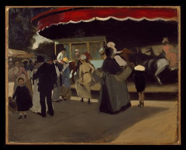 Alfred Henry Maurer (American, 1868-1932). Carrousel, ca. 1901-1902. Oil on cardboard, 28 7/8 x 36 in. (73.4 x 91.4 cm). Brooklyn Museum, Gift of Colonel Michael Friedsam, A. Augustus Healy, Alfred W. Jenkins, Mrs. Christian P. Roos, and Charles A. Schieren, by exchange, and John B. Woodward Memorial Fund