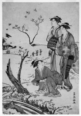 Kubo Shunman (Japanese, 1757-1820). Cherry Blossom Viewing Outing, late 18th century. Woodblock color print, .1: 12 9/16 x 8 9/16 in. (32.0 x 21.8 cm). Brooklyn Museum, Gift of Mr. and Mrs. Gilbert E. Fuller, 42.255.1-.3