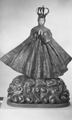Hispano-Philippine. Virgin, probably 18th century. Wood, ivory, pigment, gilding, gessoed cloth, and silver, Figure: 26 1/4 x 27 1/2 x 9 1/2 in. (66.7 x 69.9 x 24.1 cm). Brooklyn Museum, Frank L. Babbott Fund, 42.384. Creative Commons-BY