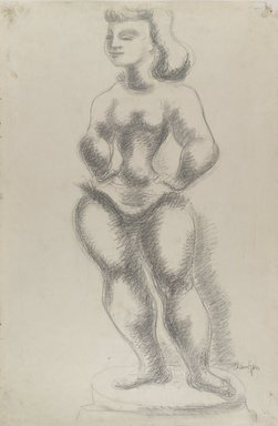 "Chaim Gross (American, born Austria, 1904-1991). Study No. 1 for ""Ballerina,"" ca. 1940. Graphite on green-grey, medium-weight, moderately textured laid paper, Sheet: 38 x 25 5/16 in. (96.5 x 64.3 cm). Brooklyn Museum, Designated Purchase Fund, 42.418. © Renee and Chaim Gross Foundation"