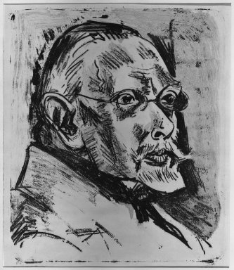 Max Pechstein (German, 1881-1955). Portrait of Papa Heilmann II (Bildnis Papa Heilmann II), 1918. Color lithograph in dark red and black on wove paper, Image: 15 x 12 13/16 in. (38.1 x 32.5 cm). Brooklyn Museum, Henry L. Batterman Fund, 42.421