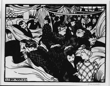 Félix Vallotton (Swiss, 1865-1925). Le Bon Marché, 1893. Woodcut on wove paper, Image: 7 15/16 x 10 1/4 in. (20.2 x 26 cm). Brooklyn Museum, Henry L. Batterman Fund, 42.422