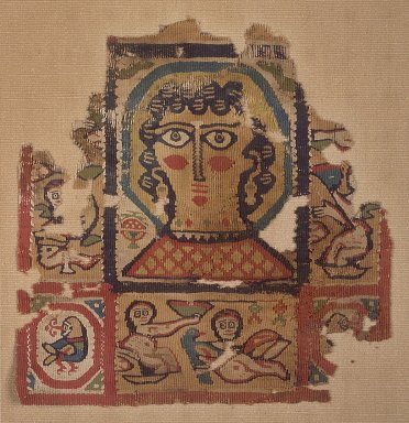 Coptic. Textile of Haloed Head of a Woman, 6th century C.E. Flax, wool, 9 7/16 x 9 7/16 in. (24 x 24 cm). Brooklyn Museum, Gift of Pratt Institute, 42.438.4. Creative Commons-BY