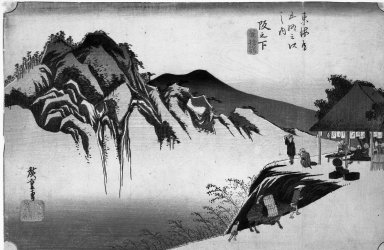 Utagawa Hiroshige (Ando) (Japanese, 1797-1858). Sakanoshita: The Throwing Away the Brush Peak, ca. 1834. Woodblock color print, 8 7/8 x 13 3/4 in. (22.5 x 35 cm). Brooklyn Museum, Gift of Frederic B. Pratt, 42.72