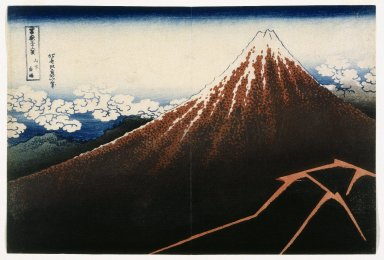 Katsushika Hokusai (Japanese, 1760-1849). A Shower Below the Summit, from the series, Thirty -six Views of Mount Fuji (Fugaku sanjurokkei), ca. 1823. Woodblock color print, 9 7/8 x 14 5/8 in. (25.1 x 37.1 cm). Brooklyn Museum, Gift of Frederic B. Pratt, 42.76