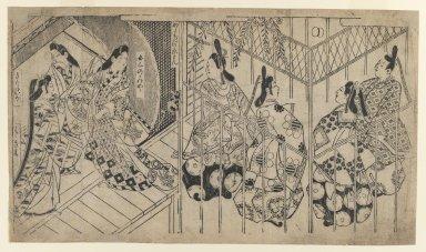 Sugimura Jihei (Japanese, active ca. 1681-1703). Illustration from Genji Monogatari, 1688-1704. Woodblock print, 12 1/4 x 21 3/4 in. (31.1 x 55.2 cm). Brooklyn Museum, Gift of Frederic B. Pratt, 42.81