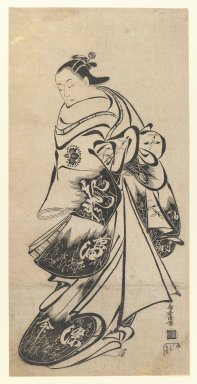 Kiyomasu Torii I (Japanese, active 1704-1718). The Actor Fujimura Handayu as Oiso no Tora, 1708-1712. Woodblock print, Oban tate-e, Sheet: 21 3/4 x 10 11/16 in. (55.2 x 27.1 cm). Brooklyn Museum, Gift of Frederic B. Pratt, 42.82