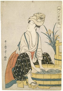 Brooklyn Museum: Washing Clothes (Sentaku), from Women's Handicrafts: Models of Dexterity (Fujin Tewaza Ayatsuri Kagami)