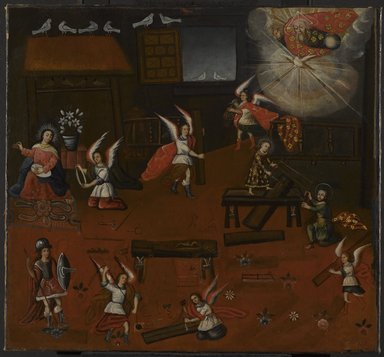 Unknown. The Carpenter's Shop in Nazareth, late 18th century. Oil on canvas, 29 5/8 x 31 7/8in. (75.2 x 81cm). Brooklyn Museum, Frank L. Babbott Fund, 43.112