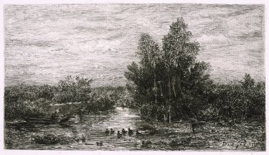 Charles-François Daubigny (French, 1817-1878). Fisherman on River with Ducks, 1878. Etching on laid paper, Image: 5 1/4 x 8 1/2 in. (13.3 x 21.6 cm). Brooklyn Museum, Gift of J. Oettinger, 43.117.3