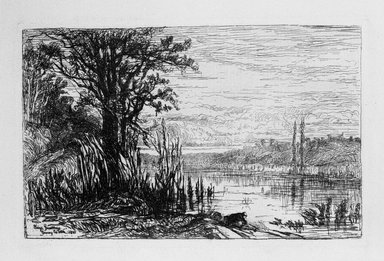 Eliza Greatorex (Irish, 1819-1897). Pond at Cernay la Ville, 1880. Etching on laid paper, 4 1/2 x 7 in. (11.5 x 17.8 cm). Brooklyn Museum, Gift of J. Oettinger, 43.117.7