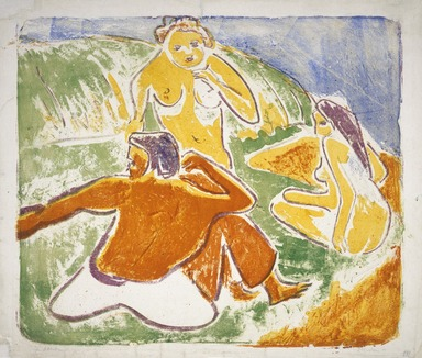 Ernst Ludwig Kirchner (German, 1880-1938). Three Bathers on the Beach, 1909. Color lithograph in red, yellow, green, blue and violet on wove paper, Image: 20 x 23 1/2 in. (50.8 x 59.7 cm). Brooklyn Museum, By exchange, 43.124