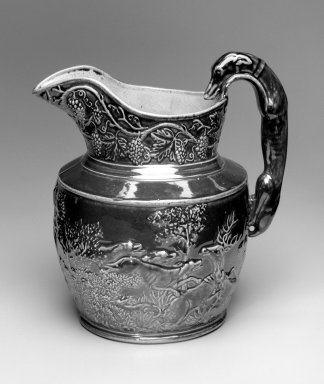 Daniel Greatbach. Pitcher, 1840. Earthenware, 10 1/4 in. (26 cm). Brooklyn Museum, Gift of Arthur W. Clement, 43.128.25. Creative Commons-BY