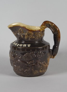 Pitcher, 1845. Earthenware, 8 3/8 in. (21.3 cm). Brooklyn Museum, Gift of Arthur W. Clement, 43.128.36. Creative Commons-BY