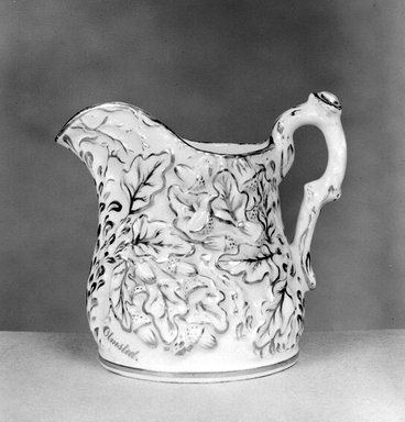Pitcher, ca. 1848-1856. Porcelain, Height: 7 in. (17.8 cm.); Diameter of base: 5 1/4 in. (13.3 cm.). Brooklyn Museum, Gift of Arthur W. Clement, 43.128.55. Creative Commons-BY