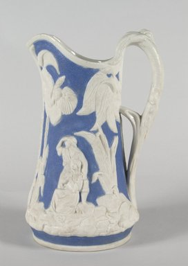 "United States Pottery Company. ""Paul and Virginia"" Pitcher, 1852-1858. Parian ware, 9 1/4 in. (23.5 cm). Brooklyn Museum, Gift of Arthur W. Clement, 43.128.59. Creative Commons-BY"