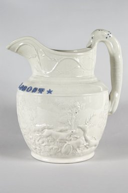 American. Hunting pitcher, 1840-1850. White ware, 12 in. (30.5 cm). Brooklyn Museum, Gift of Arthur W. Clement, 43.128.72. Creative Commons-BY