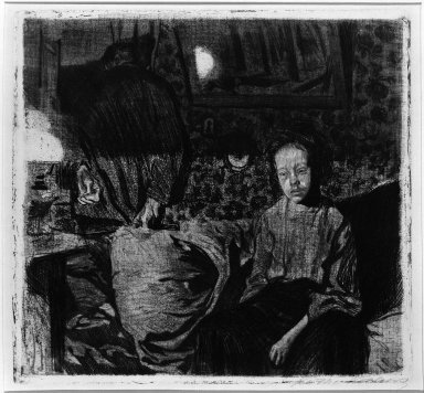 Käthe Kollwitz (German, 1867-1945). The Young Couple (Junges Paar), 1904. Soft-ground etching on heavy wove paper, Image (Plate): 11 3/4 x 12 9/16 in. (29.8 x 31.9 cm). Brooklyn Museum, By exchange, 43.12