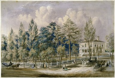 Frances Flora Palmer (American, 1812-1876). Samuel Fleet Homestead, ca. 1850s. Transparent and opaque watercolor over graphite on cream, moderately thick, slightly textured wove paper mounted to Japanese paper., 18 3/8 x 27 1/4 in. (46.7 x 69.2 cm). Brooklyn Museum, Bequest of Clara H. Baxter, 43.171