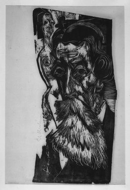 Ernst Ludwig Kirchner (German, 1880-1938). Portrait of Ludwig Schames (Kopf Ludwig Schames), 1918. Woodcut on wove paper, Image (irregular): 22 1/4 x 10 in. (56.5 x 25.4 cm). Brooklyn Museum, By exchange, 43.185