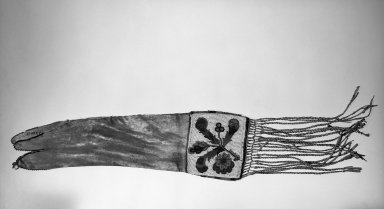 Cree (Native American). Pipe Bag. Hide, glass beads, quills Brooklyn Museum, Anonymous gift in memory of Dr. Harlow Brooks, 43.201.15. Creative Commons-BY