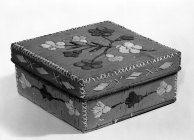 Micmac (Native American). Square Box and Cover, early 20th century. Birchbark, porcupine quill, 7 x 7 x 3 1/8 in. (17.8 x 17.8 x 7.9 cm). Brooklyn Museum, Anonymous gift in memory of Dr. Harlow Brooks, 43.201.160a-b. Creative Commons-BY