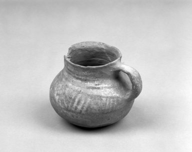 Southwest (unidentified) (Native American). Pitcher. Clay, slip, 3 1/4 x 4 in.  (8.3 x 10.2 cm). Brooklyn Museum, Anonymous gift in memory of Dr. Harlow Brooks, 43.201.223. Creative Commons-BY