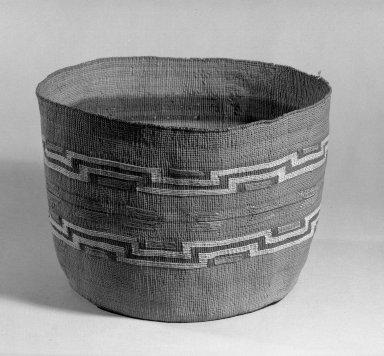 Tlingit (Native American). Cylindrical Basket, late 19th-early 20th century. Spruce root, natural dye, 7 1/2 x 10 1/4 in. (19 x 26 cm). Brooklyn Museum, Anonymous gift in memory of Dr. Harlow Brooks, 43.201.286. Creative Commons-BY
