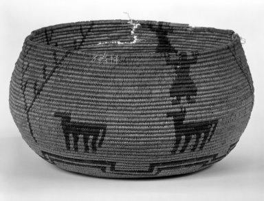 Yokuts (Native American). Coiled Basketry Bowl with Figures and Animal Designs. Fiber, 4 3/4 in.  (12.0 cm). Brooklyn Museum, Anonymous gift in memory of Dr. Harlow Brooks, 43.201.305. Creative Commons-BY