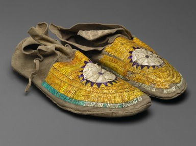 Sioux (Native American). Pair of Moccasins, ca. 1882. Hide, porcupine twill, 10 7/16 x 3 15/16 in. (26.5 x 10 cm). Brooklyn Museum, Anonymous gift in memory of Dr. Harlow Brooks, 43.201.66a-b. Creative Commons-BY