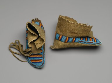 Interior Salish (Native American). Pair of Child's Moccasins, 1885-1895. Smoked hide, beads, cut steel beads, 7 1/2 x 3 1/8 in. (19.1 x 7.9 cm). Brooklyn Museum, Anonymous gift in memory of Dr. Harlow Brooks, 43.201.72a-b. Creative Commons-BY