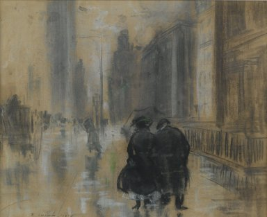 Everett Shinn (American, 1876-1953). Fifth Avenue, 1910. Pastel on beige, moderately thick, moderately textured laid paper., 12 3/8 x 15 1/4 in. (31.4 x 38.7 cm). Brooklyn Museum, Gift of Samuel A. Lewisohn, 43.227